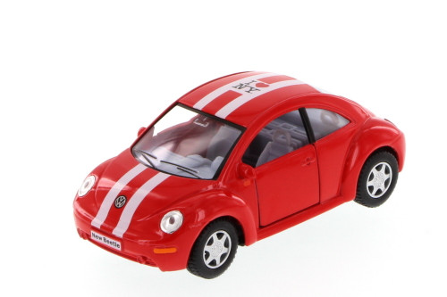I Love New York Volkswagen New Beetle Hard Top, Red - Kinsmart 5028W-ILNY - 1/32 Scale Diecast Model Toy Car