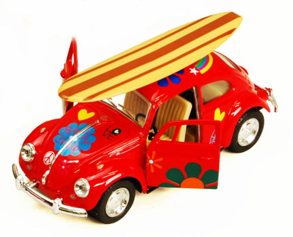 1967 Volkswagen Beetle w/ Surfboard, Red - Kinsmart 5057DS - 1/32 scale Diecast Model Toy Car (Brand New, but NOT IN BOX)