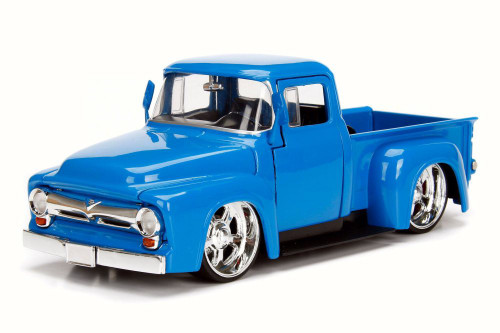 1956 Ford F-100 Pick Up, Blue - Jada 99043 - 1/24 Scale Diecast Model Toy Car