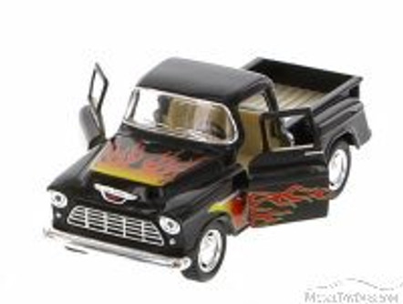 1955 Chevy Stepside Pickup with Flames, Black with Flames - Kinsmart 5330DF - 1/32 Scale Diecast Model Replica (Brand New, but NOT IN BOX)