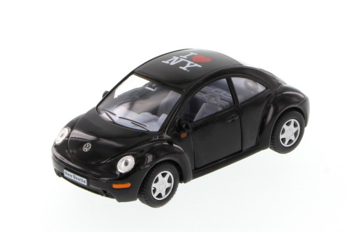 I Love New York Volkswagen New Beetle Hard Top, Black - Kinsmart 5028W-ILNY - 1/32 Scale Diecast Model Toy Car