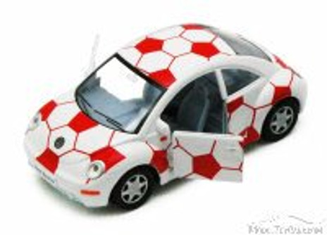 Volkswagen New Beetle, White & Red - Kinsmart 5028DR - 1/32 Scale Diecast Model Replica (Brand New, but NOT IN BOX)