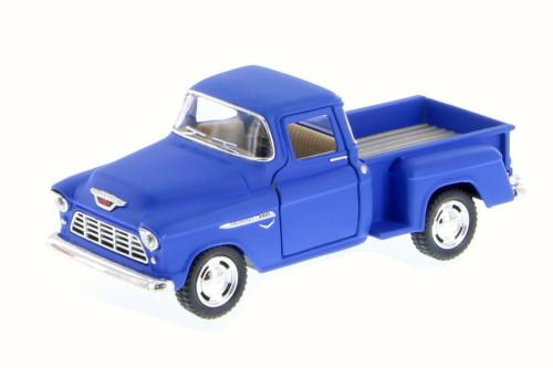 1955 Chevy Stepside Pickup, Matte Blue - Kinsmart 5330DM - 1/32 Scale Diecast Model Toy Car