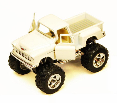 1955 Chevy Stepside Pickup Truck w/ Rubber Big Wheel, White - Kinsmart 5330DB - 1/32 Scale Diecast Model Toy Car