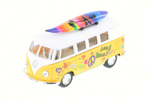 1962 Volkswagen Classic Bus w/ Surfboard & decals, Yellow - Kinsmart 5060DS - 1/32 Scale Diecast Toy Car (Brand New, but NOT IN BOX)