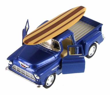 1955 Chevy Stepside Pickup Truck w/ Surfboard, Blue - Kinsmart 5330DS - 1/32 Scale Diecast Model Toy Car