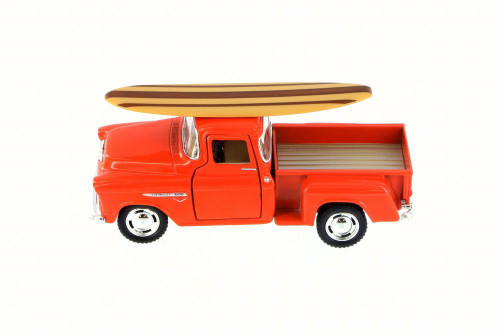 1955 Chevy Stepside Pickup Truck w/ Surfboard, Orange - Kinsmart 5330DS - 1/32 Scale Diecast Model Toy Car