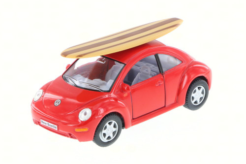Volkswagen New Beetle w/ surfboard, Red - Kinsmart 5028DS - 1/32 Scale Diecast Model Toy Car (Brand New, but NOT IN BOX)
