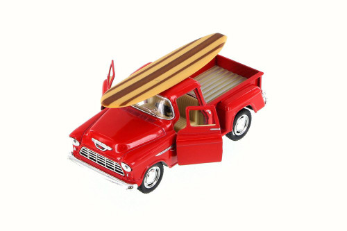1955 Chevy Stepside Pickup Truck w/ Surfboard, Red - Kinsmart 5330DS - 1/32 Scale Diecast Model Toy Car