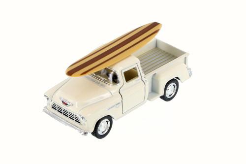 1955 Chevy Stepside Pickup Truck w/ Surfboard, White - Kinsmart 5330DS - 1/32 Scale Diecast Model Toy Car