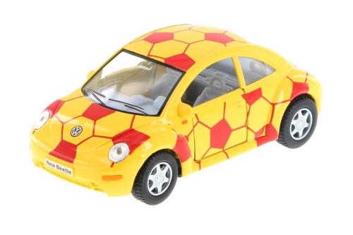 Volkswagen New Beetle, Yellow w/ Red Soccer Detal - Kinsmart 5028DR - 1/32 Scale Diecast Model Toy Car