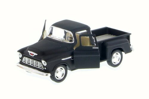 1955 Chevy Stepside Pickup, Matte Black - Kinsmart 5330DM - 1/32 Scale Diecast Model Toy Car