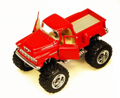 1955 Chevy Stepside Pickup Truck w/ Rubber Big Wheel, Red - Kinsmart 5330DB - 1/32 Scale Diecast Model Toy Car