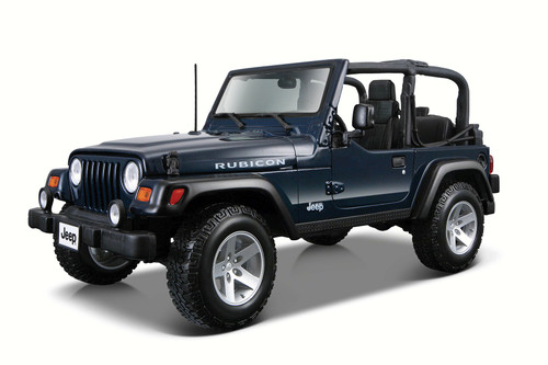 Jeep Wrangler Rubicon Convertible, Blue - Maisto 31245 - 1/27 Scale Diecast Model Toy Car