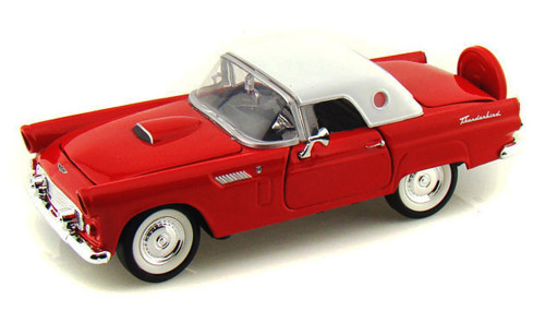 1956 Ford Thunderbird Closed Convertible, Red - Motormax 73312 - 1/24 scale Diecast Model Toy Car