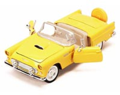 1956 Ford Thunderbird Convertible, Yellow - Motormax 73215 - 1/24 scale Diecast Model Toy Car