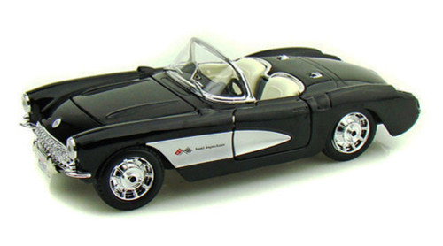 1957 Chevy Corvette Convertible, Black - Maisto 34275 - 1/24 Scale Diecast Model Toy Car (Brand New, but NOT IN BOX)