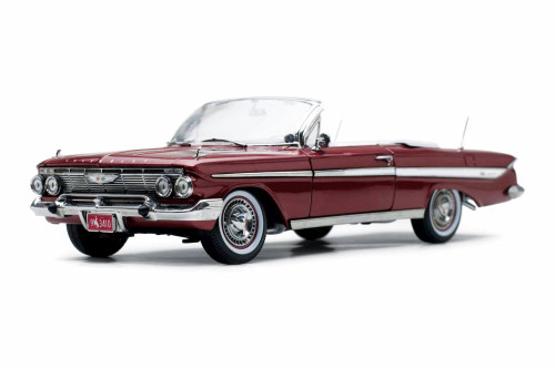 1961 Chevy Impala Open Convertible, Honduras Maroon - Sun Star 3410 - 1/18 scale Diecast Model Toy Car