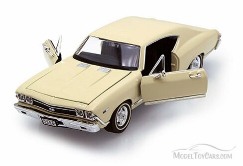 1968 Chevy Chevelle SS396 , Cream - Welly 29397 - 1/24 scale Diecast Model Toy Car
