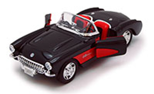 1957 Chevy Corvette Convertible, Black - Welly 29393 - 1/24 scale Diecast Model Toy Car