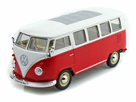 1962 Volkswagen Classical Bus, Burgundy - Welly 22095 - 1/24 scale Diecast Model Toy Car (Brand New, but NOT IN BOX)
