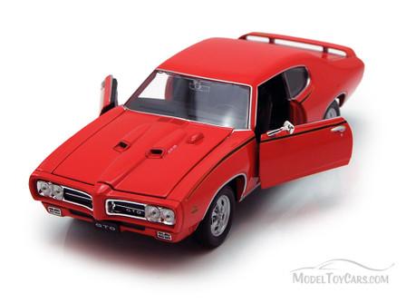 1969 Pontiac GTO, Orange - Welly 22501 - 1/24 scale Diecast Model Toy Car