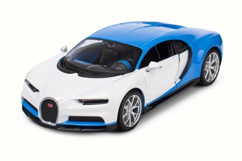 Bugatti Chiron, Blue w/ White - Maisto 32509SB - 1/24 Scale Diecast Model Toy Car