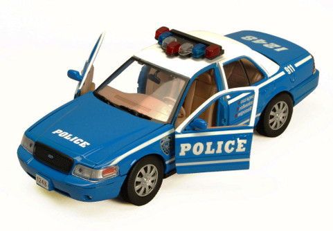2010 Ford Crown Victoria Police Car, Blue With White Roof - Showcasts 76482 - 1/24 Scale Diecast Model Car (Brand New, but NOT IN BOX)