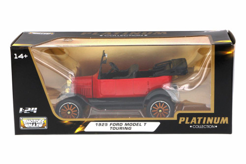 1925 Ford Model T Touring Convertible, Red - Motor Max 79328PTM - 1/24 Scale Diecast Model Toy Car