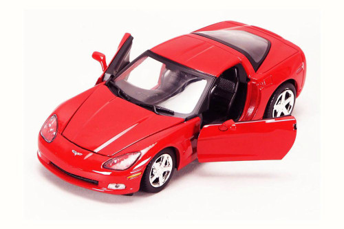 2005 Chevy Corvette C6, Red - Motor Max 73270AC - 1/24 Scale Diecast Model Toy Car