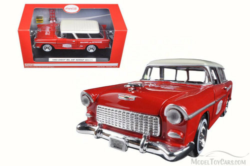 1955 Chevy Bel Air Nomad Wagon, Red w/ White Top - Motor City Classics 424110 - 1/24 Scale Diecast Model Toy Car