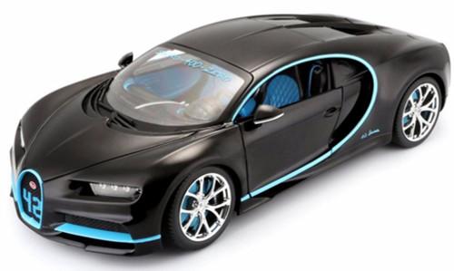 Bugatti Chiron #42, Matte Black w/ Blue Detail - Maisto 31514BK42 - 1/24 Scale Diecast Model Toy Car