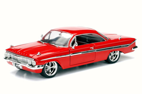 1961 Dom's Chevy Impala F8 Fate of Furious, Red - Jada 98430 - 1/24 Scale Diecast Model Toy Car