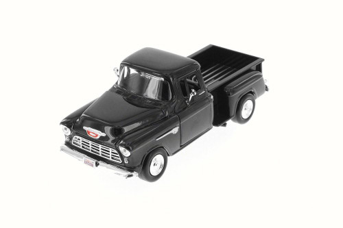 1955 Chevy 5100 Stepside Pick Up, Black - Motor Max 73236W - 1/24 Scale Diecast Model Toy Car