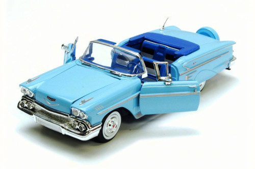 1958 Chevrolet Impala Convertible, Blue - Motor Max 73267L - 1/24 Scale Diecast Model Toy Car