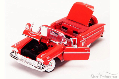 1958 Chevrolet Impala Convertible, Red - Motor Max 73267L - 1/24 Scale Diecast Model Toy Car