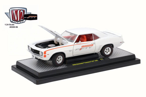 1969 Chevy Camaro SS 396, Pearl White/Orange - Castline M2 40300/56A - 1/24 Scale Diecast Model Toy Car