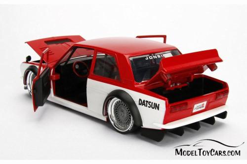 1973 Datsun 510 Widebody #73, Red w/ White - Jada 99094WA1 - 1/24 Scale Diecast Model Toy Car