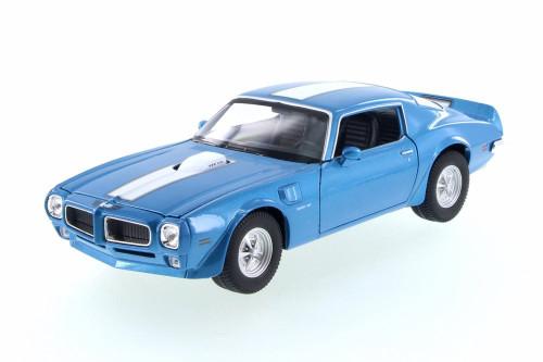 1972 Pontiac Firebird Trans AM,  Blue w/ White - Welly 28075D - 1/24 Scale Diecast Model Toy Car