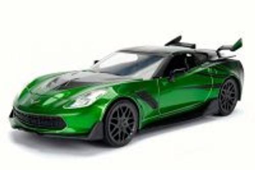 2016 TRANSFORMERS 5 Crosshairs Chevy Corvette Stingray, Metallic Green w/Black - Jada 98525 - 1/24 Scale Diecast Model Toy Car