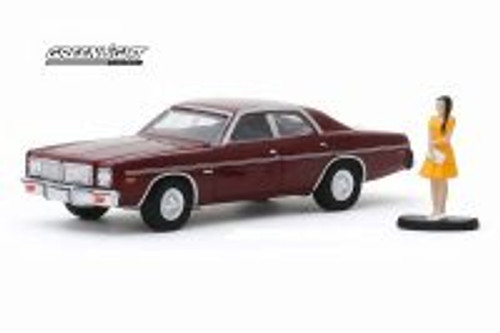 1976 Dodge Coronet with Women in Dress, Burgundy - Greenlight 97080/48 - 1/64 scale Diecast Model Toy Car