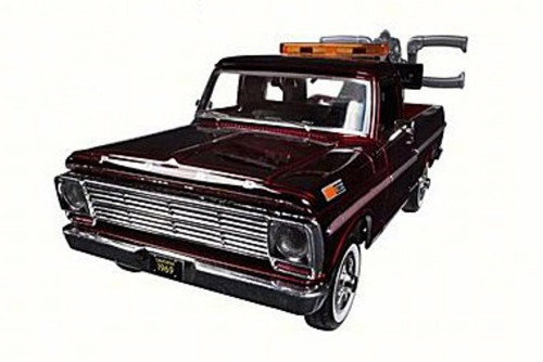 1969 Ford F-100 Pickup Tow Truck, Burgundy - Motor Max 75345AC - 1/24 Scale Diecast Model Toy Car
