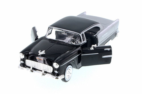 1955 Chevy Bel Air Hard Top, Black - Motor Max 73229AC/BK - 1/24 Scale Diecast Model Toy Car