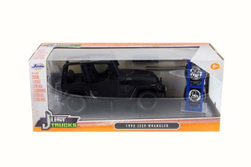 1992 Jeep Wrangler Off-Road, Black - Jada 54027/W16 - 1/24 Scale Diecast Model Toy Car