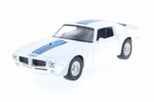1972 Pontiac Firebird Trans AM,  White w/ Blue - Welly 28075D - 1/24 Scale Diecast Model Toy Car
