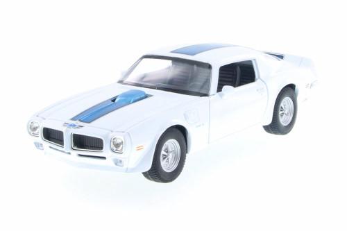 1972 Pontiac Firebird Trans AM,  White w/ Blue - Welly 28075D - 1/24 Scale Diecast Model Toy Car