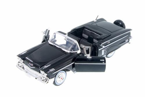 1958 Chevrolet Impala Convertible, Black - Motor Max 73267AC/BK - 1/24 Scale Diecast Model Toy Car