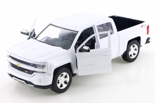 2017 Chevy Silverado 1500 Z71 Crew Cab, White - Motor Max 74348D - 1/24 Scale Diecast Model Toy Car