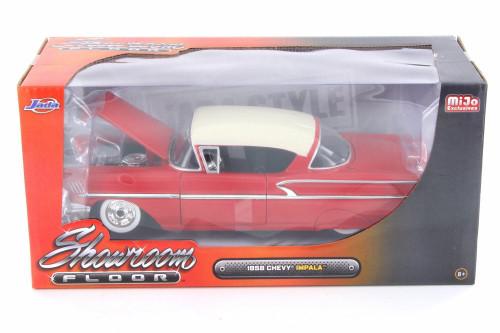 1958 Chevy Impala SS Showroom Floor, Red - Jada 98896-MJ - 1/24 Scale Diecast Model Toy Car