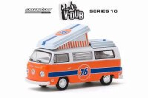1973 Volkswagen Westfalia Campmobile Union 76, Orange and White - Greenlight 29980B/48 - 1/64 scale Diecast Model Toy Car